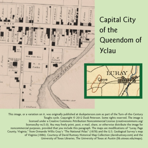 Map of the Capital City of the Queendom of Yclau, showing the cave where the Eternal Dungeon is housed.